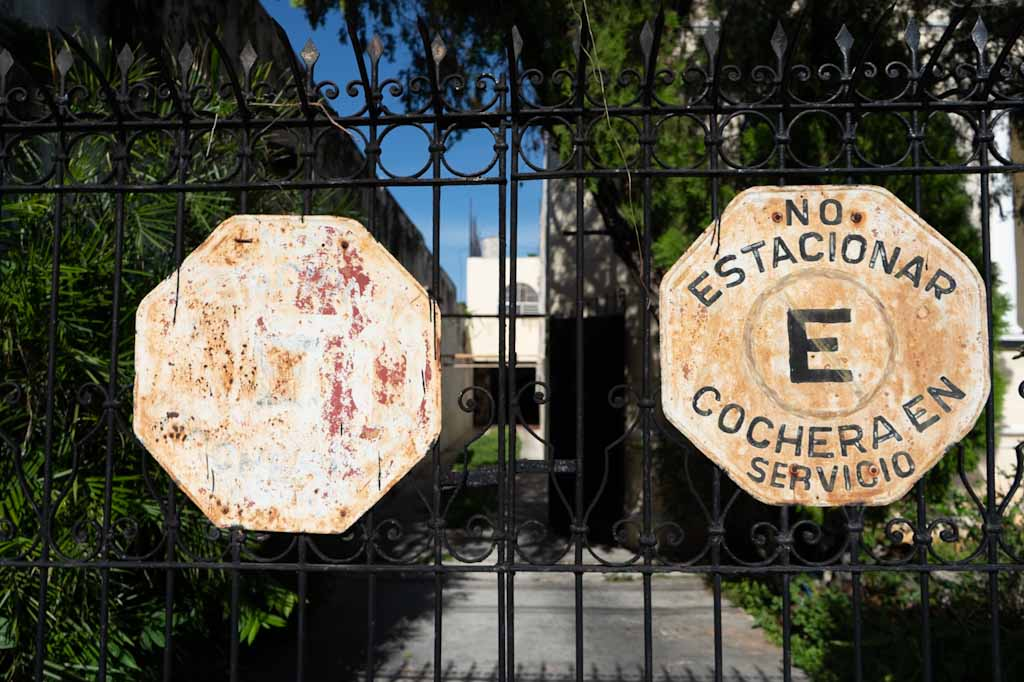 Old traffic signs on private villa