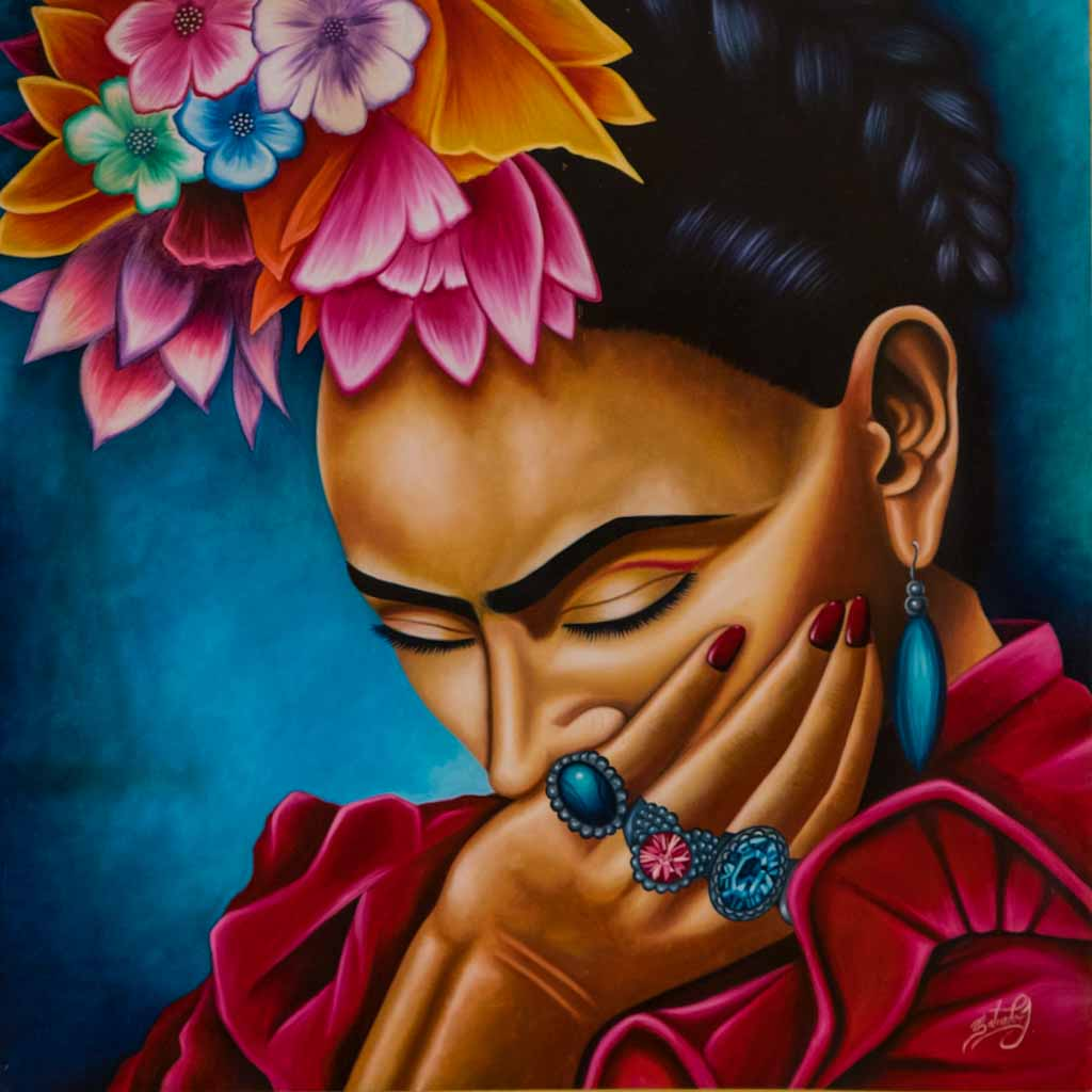 Painting of Frida Kahlo in hotel Valladolid